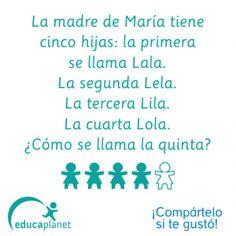 Acertijo 5 hijas diseño de Barceló para Educaplanet. #lógica #puzzle #acertijo…