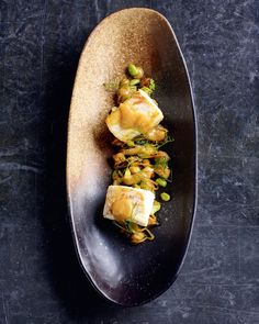 Deep-fried aubergine with halibut and miso recipe from More Home Comforts by James Martin | Cooked