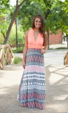 The Pink Lily Boutique - Crushing On Aztec Wrap Maxi Coral, $39.00 (http://thepinklilyboutique.com/crushing-on-aztec-wrap-maxi-coral/)