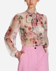 Shop women s pink printed silk shirt. Discover the world of Dolce Gabbana. 01edf79ab54b