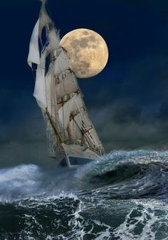 Clipper ship braving the stormy waves, but finding its way through the moonlit night.