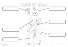 Description de Saint-Nicolas Un petit référent pour travailler le vocabulaire en lien avec Saint-Nicolas (mitre, crosse, sac, barbe, soutane...)
