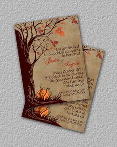 Fall Invitation Autumn Invitation Halloween Invitation by TheRedStarDesigns