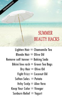 10 Summer Beauty Hacks You Need to Know With the temperatures going up, beauty problems can get on our nerves, never mind the chilled drinks and air-conditioned ambience that we go by. Here are some beauty hacks that prove to be a genius in Belleza Diy, Tips Belleza, Summer Beauty Tips, Health And Beauty Tips, Beauty Care, Diy Beauty, Beauty Skin, Homemade Beauty, Beauty Ideas