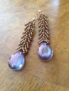 Czech bead purple earrings, czech glass earrings, long purple earrings, purple czech earrings, beadwoven earrings, bohemian bead jewelry EBW