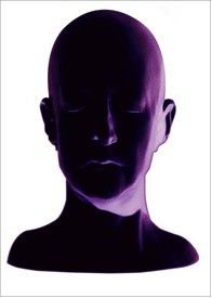 """Price: $2,500  ARLENE RUSH  Purple Head 2001  Duraclear on Clear Plexi, 30"""" x 40""""  Estimated Value: 4,000 Contact: charlotte@rushartsgallery.org"""