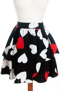 Confetti Hearts Skirt- Jet Black