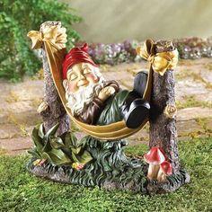 Slumbering Gnome Statue Sleeping Hammock Art Outdoor Patio Yard Garden Decor New #HomeLocomotion