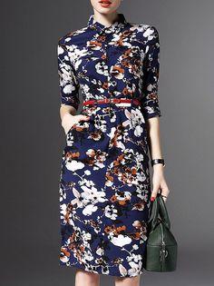 Navy+Lapel+Belted+Pockets+Print+Sheath+Dress+51.99