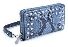 fccd22d6cc23 Michael Kors Jet Set LG Multifunction Phone Case Denim Jewel Leather  Wristlet >>