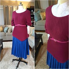 Hot Blue With Low Pleats Skirt by AmarieCollections on Etsy