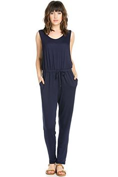 My Yuccie Womens Sleeveless Long on the Run Romper Jumpsuit Navy Blue Large * Read more reviews of the product by visiting the affiliate link Amazon.com on the image.