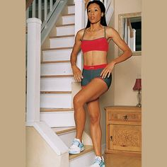 1. Stand sideways at the bottom of a staircase. In a scissorlike motion, cross your outer leg to reach the step. Click arrow to see the next step. Muscles it works: Entire leg