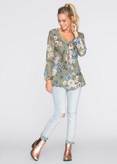 блузка свободного кроя с цветочным принтом