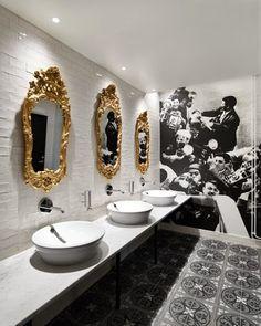 55 Restaurant Bathroom Ideas for Visitors to Feel Comfortable Restaurant Bad, Restaurant Bathroom, Restaurant Design, Toilette Design, Design Commercial, Commercial Interiors, Bathroom Inspiration, Interior Inspiration, Bathroom Ideas