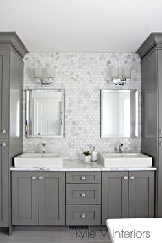 Double vanity in bathroom painted Benjamin Moore Chelsea Gray, hexagon mosaic tile backsplash, Calacatta Marble countertop by Formica. Design by Kylie M Interiors