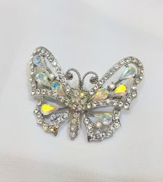 Vintage Butterfly Brooch Aurora Borealis by TracyBDesignsAZ