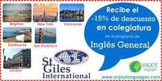 #PromociónDelDía @St Giles International tiene promociones increíbles para los estudiantes mexicanos que deseen estudiar en alguno de sus campus en #Inglaterra #EstadosUnidos y #Canadá Estudia inglés general y recibo el 15% de descuento en colegiatura. Vive una experiencia única con #StGilesInternational #EstudiaenelExtranjero #EnjoyExperience