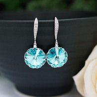 Light Turquoise Swarovski Rivoli Earrings