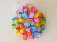 Flower Loop Hair Bow - Pastel Rainbow