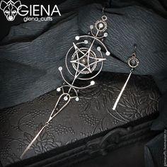 """Купить Асимметричные серьги """"Путешествие к центру галактики"""" - серебряный, серьги, сережки, асимметрия, асимметричные серьги"""
