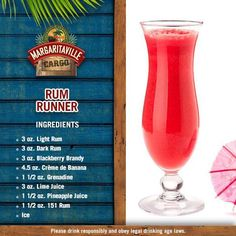 Gotta love the good ol' Rum Runner. Enjoy our twist on this classic favorite drink 🍹 Liquor Drinks, Cocktail Drinks, Alcoholic Drinks, Pool Drinks, Refreshing Cocktails, Cocktail Recipes, Margaritaville Machine Recipes, Margaritaville Mixer, Hurricane Drink