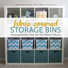 such a great idea! cover boring plastic storage bins with  fabric that matches your decor. from www.itsalwaysautumn.com