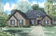 European Style House Plans - 2360 Square Foot Home , 1 Story, 3 Bedroom and 2 Bath, 3 Garage Stalls by Monster House Plans - Plan 12-1308