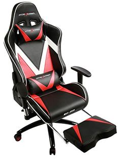 GT Racing Ergonomic Gaming Chair High back Swivel Computer Office Chair with Footrest Adjusting Headrest and Lumbar Support Racing Chair (Red/Black) (GT004-RED) | Gaming Chair Reviews And Ratings