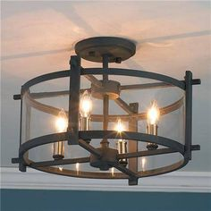 Lighting Fixtures , Beautiful Flush Mount Chandelier : Black Semi Flush Mount Chandelier With Four Bubls