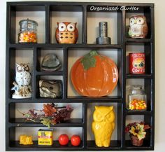 Fall Kitchen Shadow Box - Pumpkins and Ows