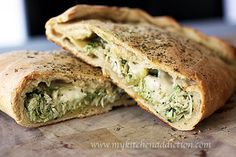 Chicken Pesto Calzones! The best part is there are directions for freezing them to cook later :)