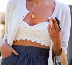 High waist skirt with bralette and cardigan