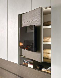 Best 10 Impressive and Innovative 15 Modern Bedroom Cabinet – SkillOfKing. Wardrobe Design Bedroom, Tv In Bedroom, Bedroom Furniture Design, Closet Bedroom, Modern Bedroom, Bedroom Decor, Home Room Design, Home Interior Design, Closet Con Tv