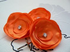 Orange Flower hair clip, set of three