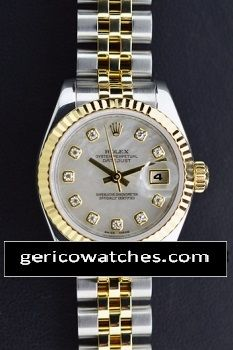 Rolex Ladies' Datejust with White MOP Diamond Dial