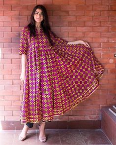 Festive Mode On in cotton anrkali + pajama Pakistani Dresses Casual, Indian Dresses, Indian Outfits, Casual Dresses, Fashion Dresses, Indian Attire, Indian Ethnic Wear, Kurta Designs Women, Blouse Designs