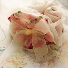 Tulle-Trim Floral Hair Tie Beige, Pink - One Size