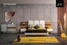 Zarif karyola tasarımı, geometrik formdaki aynası ve fonksiyonel komodinleri ile Soft Yatak Odası; ihtiyaçlarınıza en şık çözümleri sunuyor. www.zettdekor.com