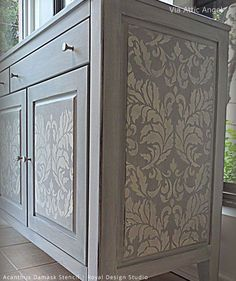 Why Damask Patterns Make Delicious Wall Stencils for DIY Home Decor - Stenciled Buffet via Attic Angel | Acanthus Damask Stencil by Royal Design Studio