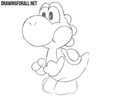 In this lesson we will show you how to draw Yoshi - one of the most interesting and cute characters of the games about Mario. Disney Sketches, Disney Drawings, Cartoon Drawings, Easy Drawings, How To Draw Mario, How To Draw Yoshi, Disney Character Drawings, Disney Characters To Draw, Pictures To Draw