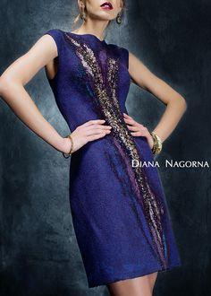 """Gefilzte Kleidung """"Blue Bird"""", modische Kleidung, elegantes Kleid, schöne Kleidung, hand Filzen, Perlen-Stickerei"""