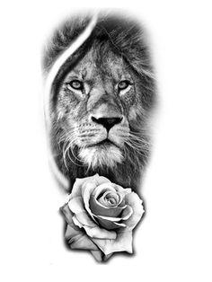 Lion And Rose Tattoo, Lion Arm Tattoo, Lion Tattoo Sleeves, Lion Head Tattoos, Leg Sleeve Tattoo, Tattoo Sleeve Designs, Tattoo Designs Men, Rose Tattoo Stencil, Rose Drawing Tattoo
