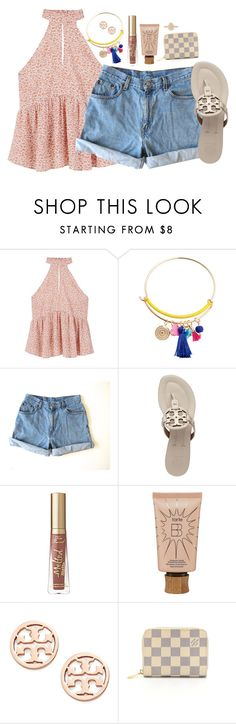 """s u m m a"" by thatprepsterlibby ❤ liked on Polyvore featuring MANGO, Levi's, Tory Burch, tarte, Louis Vuitton and Kendra Scott"