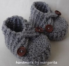 Crocheted baby boots