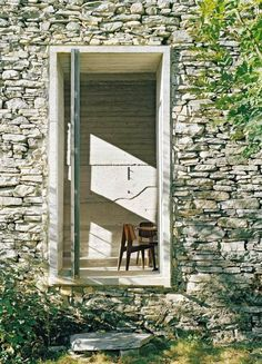 Open door in rustic stone wall. Buchner Bründler - Summer House in Linescio, Switzerland Old Stone Houses, Old Houses, Interior Architecture, Interior And Exterior, Interior Walls, Brick And Stone, Interior Photography, Windows And Doors, House Design