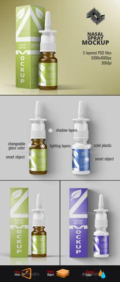 Nasal Spray Packaging Mockup. Download here: http://graphicriver.net/item/nasal-spray-packaging-mockup/14927976?ref=ksioks