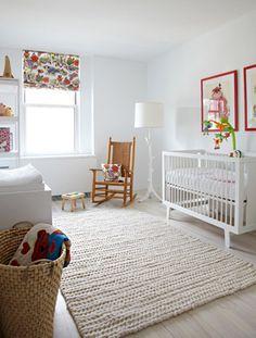 modern yet warm winter white nursery via apartmenttherapy