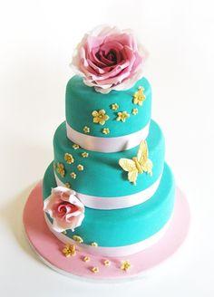 Wedding Cake blue & pink