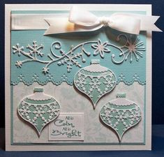 All is Calm, All Is Bright: PAPER - SEI ; DIES -Ornament and Frosty Border from Memory Box; Rectangle from Spellbinders; EMBELLISHMENTS: Stickles on the Frosty Border; RIBBON  SENTIMENT - Digital